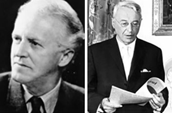 """Univ.-Prof. Dr. Eduard Reut-Nicolussi (Bild links) hatte den Grundstein für die Informationsarbeit über Südtirol gelegt gehabt. Schriftleiter des 1963 ins Leben gerufenen """"SID"""" wurde der österreichische Völkerrechts- und Menschenrechtsexperte Univ.-Prof. Dr. Franz Gschnitzer (Bild rechts)."""
