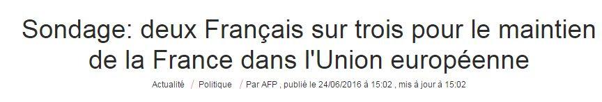 Umfrage: Zwei Drittel der Franzosen für Verbleib Frankreichs in der EU