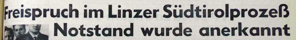 """Schlagzeile in den """"Oberösterreichischen Nachrichten"""" vom 1. Juni 1967"""