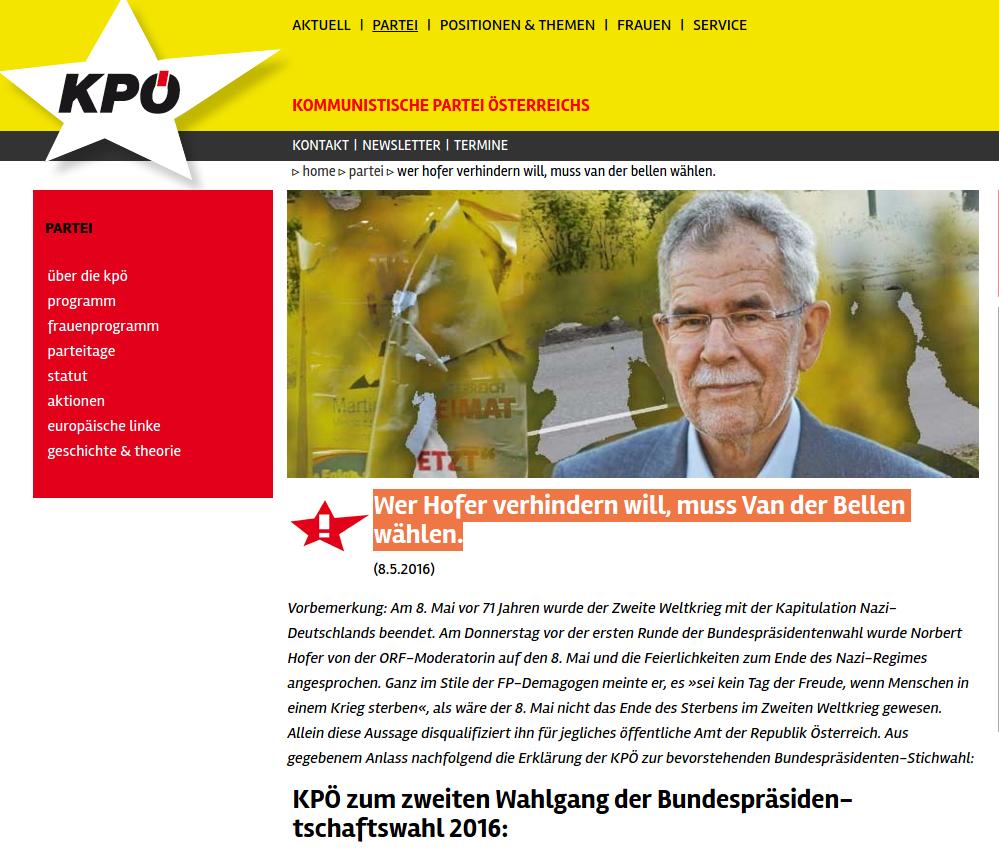 Screenshot, http://www.kpoe.at/innenpolitik/parteien/2016/wer-hofer-verhindern-will-muss-van-der-bellen-waehlen