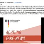 """März 2020 (!): Gesundheitsministerium warnt vor """"Fake-News"""", die kommenden Lockdown vorhersagten"""