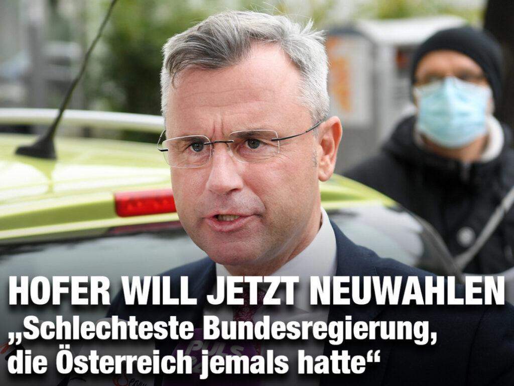 """Hofer will jetzt Neuwahlen: """"Schlechteste Bundesregierung, die Österreich jemals hatte"""""""